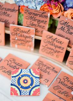 """Ceramic Tile seat """"Cards"""" for weddings, guests could then use them as coasters"""