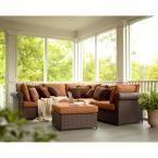 Hampton Bay Woodbury 4-Piece Patio Seating Set with Textured Sand Cushions