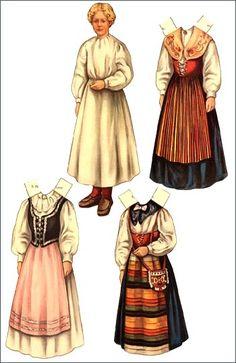 Unique Antique Paper Doll with European Folk Costumes.