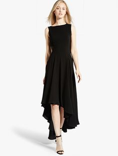 Halston Heritage delivers pitch-perfect detail from every angle with an asymmetric high/low hem at front to an ornate embroidered bodice at back. Halston Heritage Dress, Asymmetrical Dress, Women's Fashion Dresses, Day Dresses, Ready To Wear, Gowns, My Style, Stylish, Dress Black