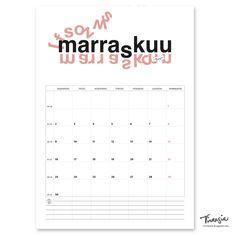 Marraskuun 2020 tulostettava seinäkalenteri #marraskuu #November2020 #kalenteri #tulostettava #ilmainen #calendar #print #free #virtasia
