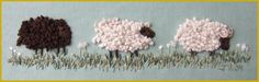 french knot embroidered sheep