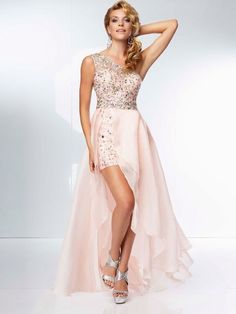 93142097a9 Fashionable One Shoulder A-line Light Pink Chiffon High Low Cocktail Dresses  With Crystals Pretty