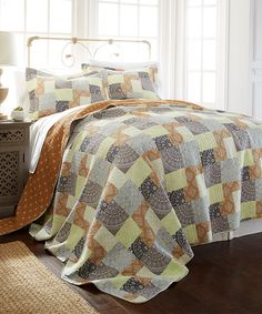 Orange & Yellow Adara Reversible Quilt Set