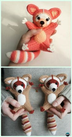 Crochet Toys Patterns Crochet Amigurumi Raccoon Free Pattern - Crochet Amigurumi Little World Animal Toys Free Pattern - These amigurumi raccoons are just about 15 cm tall. The little guys look like flying squirrels because they ne Crochet Animal Patterns, Stuffed Animal Patterns, Crochet Patterns Amigurumi, Amigurumi Doll, Crochet Animals, Crochet Dolls, Knitting Patterns, Crocheted Toys, Stuffed Animals