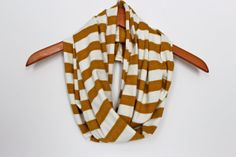 Infinity Scarf in Mustard Yellow Stripe - Jersey Knit Scarf - Striped Scarf - Eternity Scarf - Circle Scarf