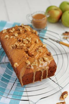 An easy apple loaf cake with a caramel glaze. A great way to use up those Bramley apples. Apple Loaf Cake, Apple Cakes, Bramley Apple Recipes, 3 Ingredient Cakes, Delish Cakes, Cake Receipe, Digestive Biscuits, My Best Recipe, Cake Ingredients