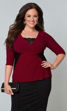 January 28th Launch :Hourglass Lace Top in Red and Black by Kiyonna,Available in sizes 0-5