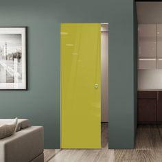 Eclisse 10mm Gloss Yellow - Green Colour Glass Syntesis Pocket Door - 1027.    #pocketglassdoor  #glassdoor  #framelessglassdoor Glass Pocket Doors, Glass Door, Tall Cabinet Storage, Locker Storage, Architrave, Green Colors, Creative Design, Yellow, Furniture