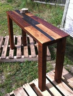 Sofa or console table made from pallet wood
