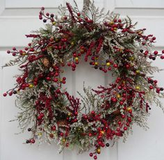 Christmas Wreath , Holiday Christmas Wreath ,  Berries Wreath , Winter Wreath , Holiday Door Wreath , by forevermore1 on Etsy https://www.etsy.com/listing/84729773/christmas-wreath-holiday-christmas