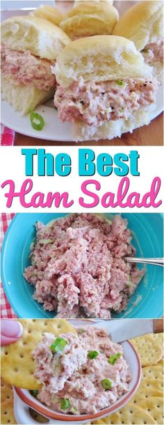 The Best Ham Salad Ingredients 1 1/2poundsboneless hamleftover or purchased thick slab, trimmed of fat and diced*1hard-boiled egg1stalk celeryroughly chopped2teaspoonsfinely chopped onion2teaspoonssweet pickle relish3/4cupmayonnaise1tablespoonprepared mustardassorted crackers and/or soft rolls