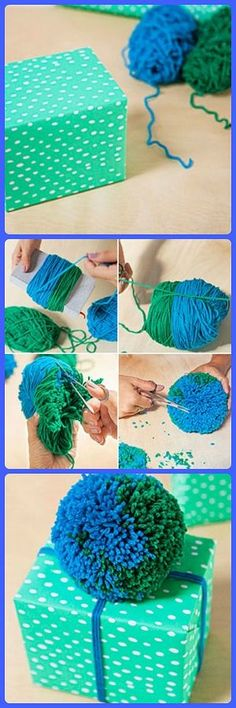 Pom-Pom Gift Topper Instructions - How to Make a Yarn Pom-Pom Ball - Good Housekeeping Creative Gift Wrapping, Creative Gifts, Wrapping Ideas, Pom Pom Crafts, Yarn Crafts, Christmas Gift Wrapping, Diy Christmas Gifts, Decoration St Valentin, Crochet Projects
