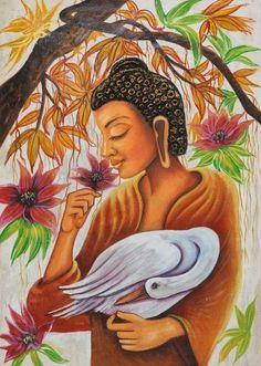 Buddha with swan (fr_1523_12394) - handpainted art painting - 24in x 36in