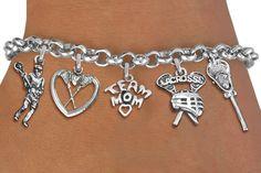 Lacrosse Mom Five Charm Bracelet - Silver Chain Bracelet w Silver Charms