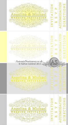 Yellow and Grey colour scheme ideas for a booklet ivnitation - A S Invites