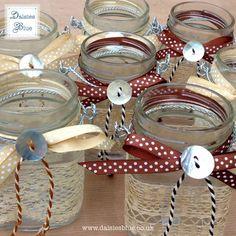A Pair of Hanging Lantern Glass Jam Jar  Candle by DaisiesBlueShop