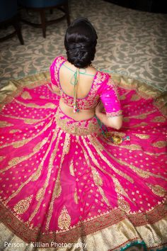 Bridal pink and gold lehenga with blouse
