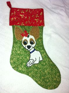 Jack/Chi Christmas Stocking Dog Design, Rescue Dogs, Chihuahua, Christmas Stockings, Puppies, Holiday Decor, How To Make, Gifts, Needlepoint Christmas Stockings