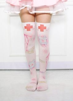 Socks: thights knee high japan baby pink pastel goth knee hi Pastel Goth Fashion, Kawaii Fashion, Lolita Fashion, Cute Fashion, Estilo Harajuku, Harajuku Mode, Harajuku Fashion, Grunge Goth, Soft Grunge