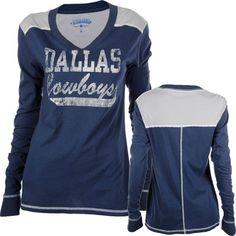 Dallas Cowboys Women's Navy V-Neck Monarch Jersey Long Sleeve T-Shirt