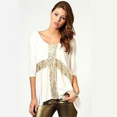 White and Gold Sequis Cross Oversized Womens Loose T-Shirt