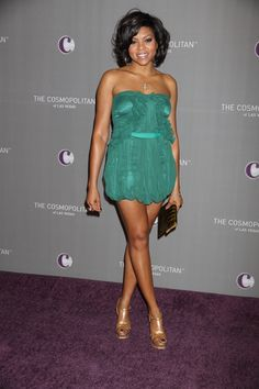 Very Short Dress | Hot Legs: Taraji P. Henson In A Very Short Turquoise Dress