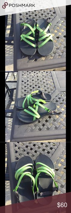 Like new chacos! Green strapped Chaco sandals. Euc! Like new! I love them, but they squeeze my little toe! Chaco Shoes Sandals