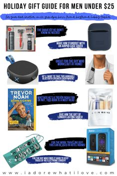The perfect budget friendly holiday gift guide to get the men in your life something they'll love!  Click here to find the BEST gift ideas.  #holidaygiftguide2019 #giftideas #budgetwise  iadorewhatilove.com
