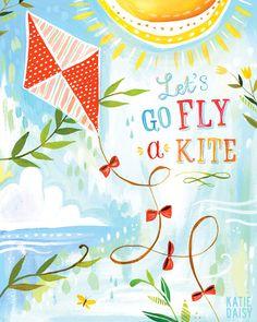 Fly a Kite Paper Print Inspirational Wall Art Kid's Daisy Art, Go Fly A Kite, Acrylic Artwork, Inspirational Wall Art, Illustrations, Letting Go, Art For Kids, Doodles, Etsy