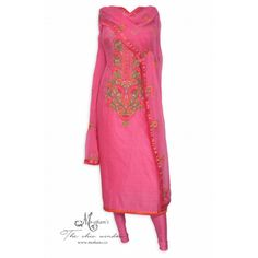 Pretty hot pink unstitched printed suit adorn in thread work at neckline
