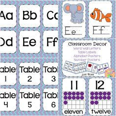 This packet comes with: Word Wall letters Table Labels Alphabet Posters with cute colorful images Number Posters (with 10 frames) to Word Wall Letters, Letter Wall, Word Table, Table Labels, Alphabet Posters, Classroom Decor Themes, Teacher Assistant, 10 Frame, Class Decoration