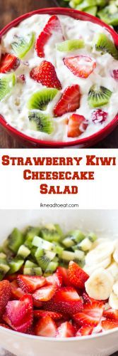 This Strawberry Kiwi Cheesecake Salad is made with fresh strawberries, kiwi and bananas. It's easily whipped up in 10 minutes and is perfect for gatherings! (fresh fruit salad with cream) Dessert Aux Fruits, Dessert Salads, Fruit Salads, Fruit Recipes, Salad Recipes, Cooking Recipes, Juicer Recipes, Dessert Banana Split, Kiwi And Banana