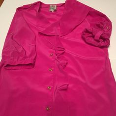 Yoana Baraschi pink dress SZ 10 Pink button up dress sleeves up or down with pockets Anthropologie Dresses Midi