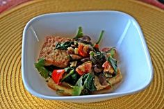 Recipe: Pan Fried Tofu tossed with Ginger Spinach and Mushrooms