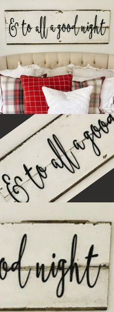 "Wouldn't this be perfect over the bed?! Large Painted ""And To All a Good Night"" Laser Cut Sign Christmas Words Wooden Wall Art, Christmas Bedroom Decor, Quote Words, Christmas Decorations, Christmas Wall Art, Holiday Decor #affiliatelink"