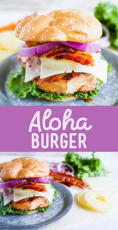 Grilled Aloha Burger - A simple Summer dinner on the BBQ. Chicken breast marinated in teriyaki, covered with Swiss cheese, pineapple rings, bacon and served on a bun! Yum!