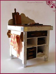 Miniature Old Country Kitchen - Butcher Board Table