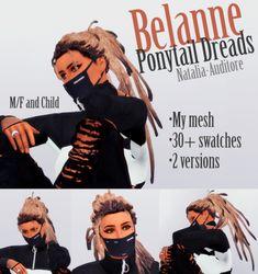 Belanne Ponytail Dreads {Patreon EXCLUSIVE} • mi malla • 2 versiones [con y sin las rastas del hombro] • M / F y niños • miniaturas • Más de 30 colores Se puede encontrar cuero cabelludo en los detalles de la piel - Warrior Scalp - casi 40 cuero cabelludo cada cabello que soy ...
