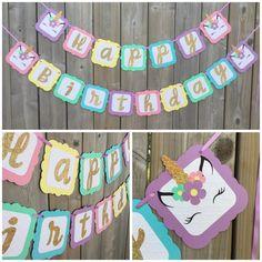 Unicorn Birthday banner, pastel rainbow unicorn banner, Gold Glitter Unicorn banner, Happy Birthday Unicorn banner by lilcraftychickadee on Etsy https://www.etsy.com/ca/listing/605067151/unicorn-birthday-banner-pastel-rainbow