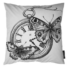 Beautifully illustrated cushion by the London based artist and designer Rory Dobner, these cushions are screen printed by hand and made in England. The cushions are double sided, Clock with Butterflies on one side and Bird with a Heart on the reverse. Bone white cotton with black illustration and a full feather core. #botanical