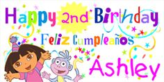 Personalized Dora the Explorer Birthday Banner by bannergrams.com