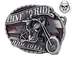 Mens Live To Ride Skull Skeleton Biker Motorcycle Belt Buckle