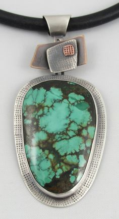 Tibetan Turquoise, Sterling Silver, Bronze & Copper Pendant - B Nelson Designs Store