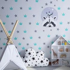 Crowns & Stars Print Wall Paper Nice Idea For Boho Style Decor