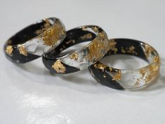 Faceted Resin Rings Trendy black and clear with Gold Flakes