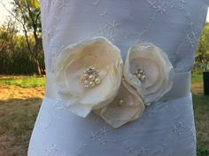 Marie- Bouquet Bridal Sash Belt Ivory Cream Blossom with cluster centers..bridal party, wedding, prom, ball... $42.95, via Etsy.