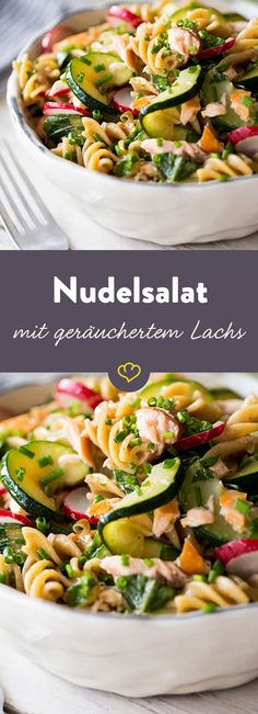 Nudelsalat mit warmgeräuchertem Lachs, Radieschen und Schnittlauch Not only the tuber, but also the green of the radishes gives this fast, fresh pasta salad with warm smoked salmon a fine spicy note. Radish Recipes, Pasta Salad Recipes, Shrimp Recipes, Healthy Recipes, Homemade Caesar Salad Dressing, Homemade Cheese Sauce, Pasta Salad Italian, Meat Appetizers, Fresh Pasta