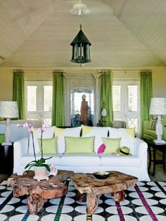 "Designer Kit Kemp goes to Barbados not to live the island high life, swanning around the ritzy beach clubs, but to escape her busy working life in London. ""This house is all about the sun, the sea and eating under the stars,"" says Kemp of the idyllic oceanside villa she and her husband, Tim, have recently completed there. ""If we go out to eat, it's to the little local spots where you sit on plastic chairs."""