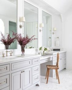 Camille Sconce in Antique Nickel with Natural Paper Shade Master Bathroom Vanity, Master Bathroom Layout, Master Bathrooms, Luxury Bathrooms, Modern Bathrooms, Bathroom With Closet, Bathroom With Makeup Vanity, White Bathroom Cabinets, Colorful Bathroom